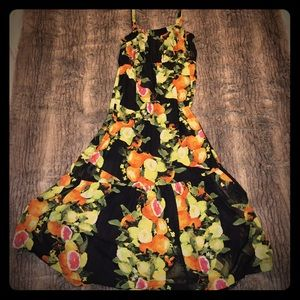 EUC Black Floral Maxi Sundress Lane Bryant 14/16